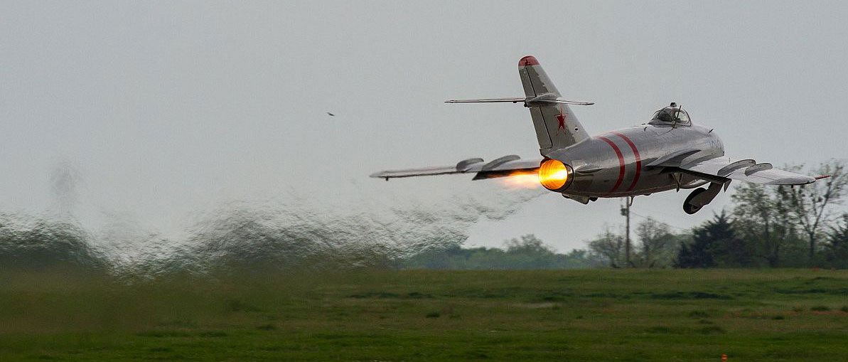 Jet taking off from runway